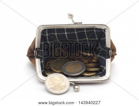 Wallet With Euro Coins On White Background