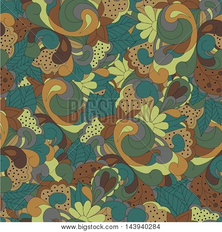 Seamless pattern with color Baroque swirls flowers and leaves can be used for wallpaper pattern fills web page backgroundsurface textures textiles cards postcards. Happy design pattern.