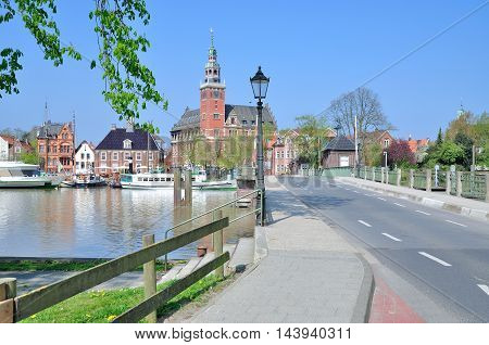 View to Town Hall in Village of Leer in East Frisia at North Sea,Lower saxony,Germany