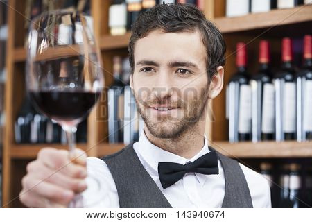 Bartender Examining Red Wine In Glass At Store