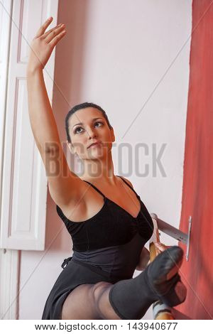 Beautiful Ballerina Practicing At Ballet Bar
