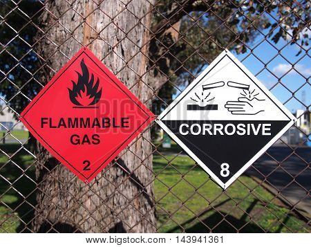 Signs for Flammable Liquids and Corrosive substances at a fence Melbourne 2016