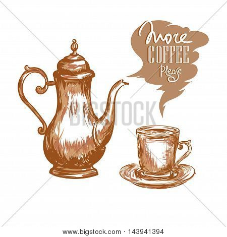 Coffee pot cup of coffee and inscription Morning Pleasure on a white background. Vector