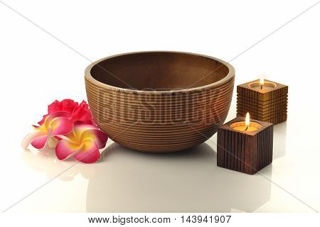 Wooden Spa Bowl With Candles and Flowers