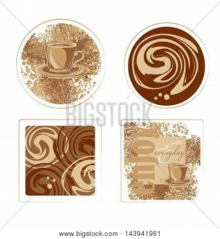 coffee background for coffee coasterwith with a cup coffee pot and coffee crumbles. it is suitable for shop cafe restaurant