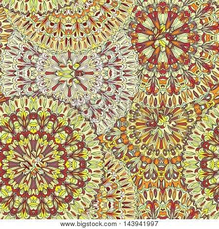 Ornamental round organic pattern, circle colorful  mandala  with many details on white background.Happy design element.