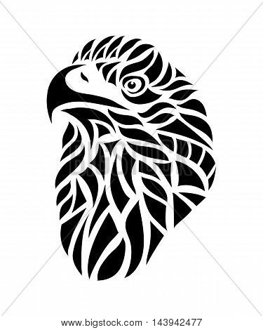 Ornamental decorative isolated black Silhouette of eagle head on a white background. Can be used for t-shirt poster tattoo textile element for card design. Hand drawn vector illustration