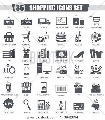 Vector finance Shopping e-commerce black icon set. Dark grey classic icon design for web