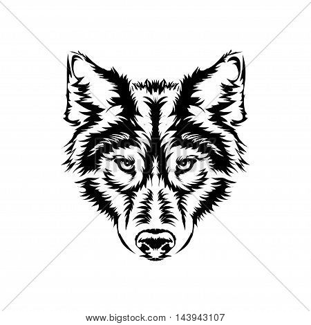 Isolated muzzle of a wolf on a white background. It can be used as a logo tattoo or prints for textiles. vector illustration