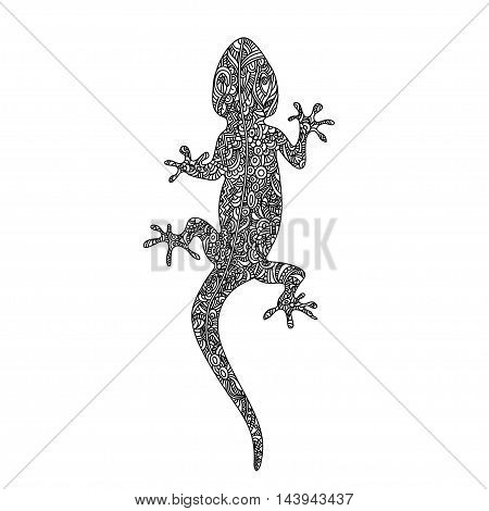 Cartoon hand drawn doodles Gecko lizard in zentangle style. vector illustration