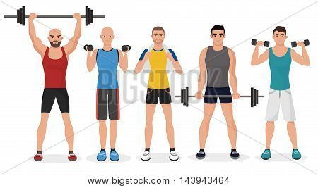 Fitness men male in gym set. Healthy lifestyle guys make exercises and gymnastics with barbells and dumbbells