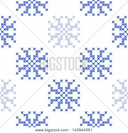 Seamless embroidered texture of flat blue patterns on canvas snowflakes winter ornament cross-stitch