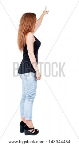 Back view of  pointing woman. redhead girl teaches. Rear view people collection.  backside view of person.  Isolated over white background.