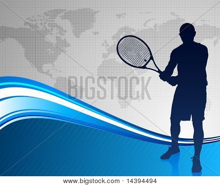 Tennis Player on Abstract Blue Background with Worl Map Original Vector Illustration