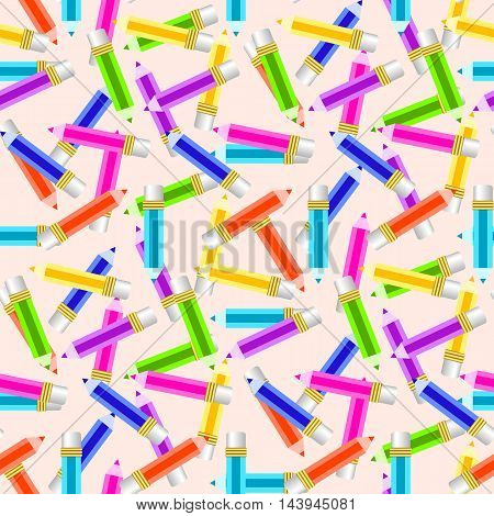 Seamless pattern with colorful pencil ornament. Back to school endless background. Vector illustration