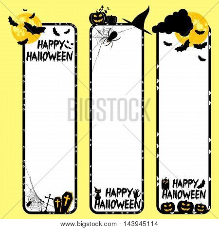Holiday banners on theme of Halloween. Black frames with pumpkins bats and spiders on white background. Moon furnished by NASA. Trick or treat vector illustration