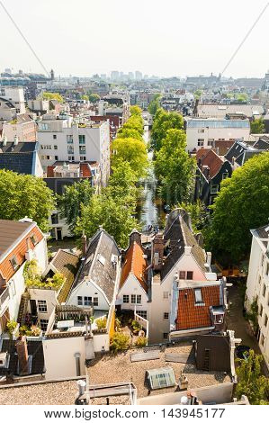Panorama of residential areas. Aerial view. Amsterdam from above, apartment buildings, historic houses of the old city quarter, view of the street with a canal and trees. Holland, Netherlands.