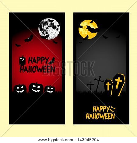 Holiday banners on theme of Halloween. Frames with pumpkins bats moon and crosses on black and red background. Moon furnished by NASA. Trick or treat vector illustration