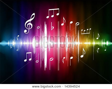 Pulso del espectro de color con notas musicales originales Vector Illustration