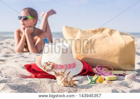 Girl Teenager Resting On Beach