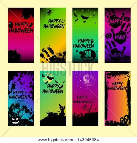 Collection of holiday banners on theme of Halloween. Frames with pumpkins bats spiders moon and crosses at night in style black and color. Moon furnished by NASA. Trick or treat vector illustration