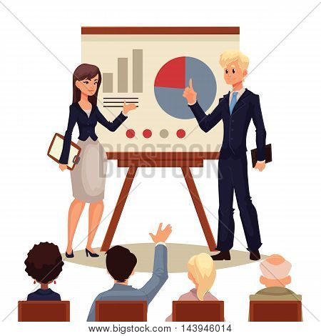 Businessman and businesswoman giving presentation with a board, sketch style illustration isolated on white background. Male and female managers presenting a chart to a group of people