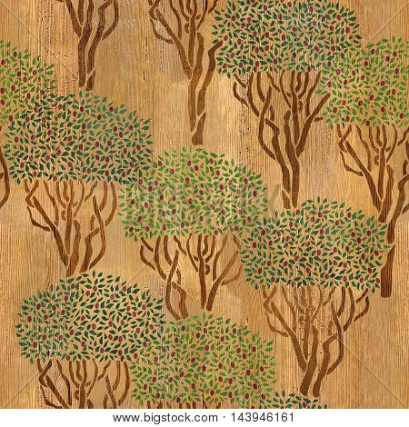 Decorative olive grove - seamless background - wood texture