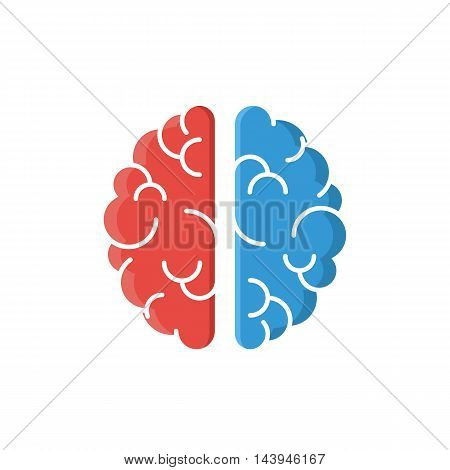 Brain red and blue icon isolated on white background. Vector illustration sign for web design banner on site or print