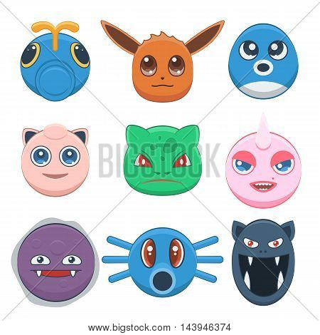 Cute cartoon monster set avatar. Vector illustration emotions funny, sad faces animal isolated on white background