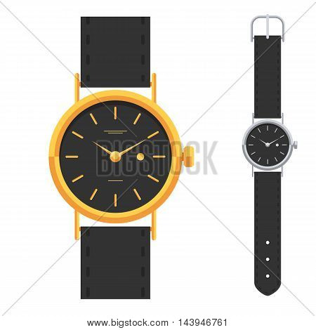 Gold and silver watches, classic design luxury watch set. Hand watch. Vector illustration sign isolated on white background