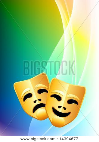 Comedy and Tragedy Masks on Abstract Color Background Original Vector Illustration