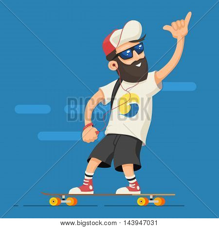 Hipster character man with a beard in the headphones, fitness tracker, and the cap rides on a longboard. A grown man rides a skateboard. Vector illustration of cartoon man