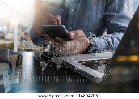 Business Man Working On Digital Tablet Computer And Smart Phone With  Social Media
