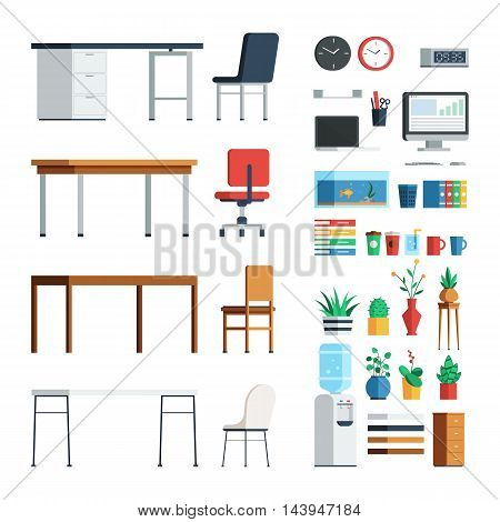 Office furniture and appliances elements for create interior scene modern decoration. Vector business illustration flat style design set isolated on white background