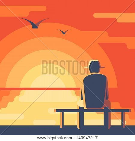 Elderly man in a hat on the bench. Seascape sunset. Landscape with red sky, the sun reflected in the ocean. Concept vector illustration