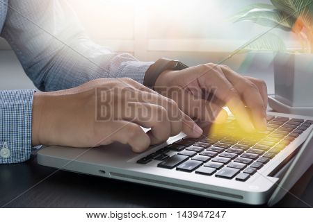 Business  On Office Table With Smart Phone And Laptop Computer