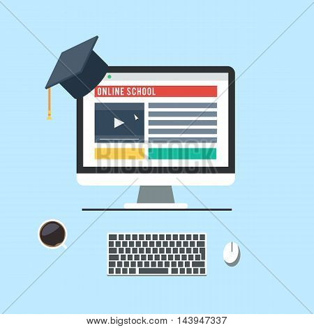 Concept of online school, E-learning, Internet network as a knowledge base. Computer monitor and keyboard mouse and coffee mug. Vector icons for online distance education for banner, web design or print