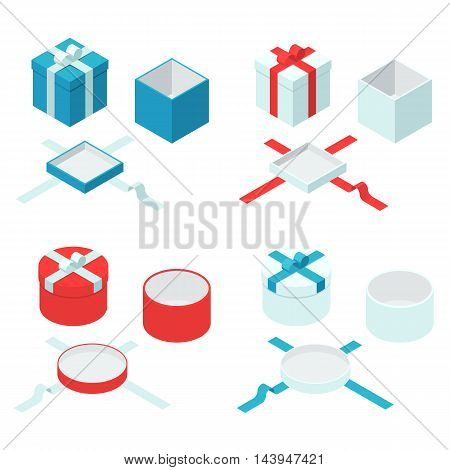 Colorful present and gift boxes with ribbon bows. Open and closed box sign set. Vector flat isometric illustration isolated on white background