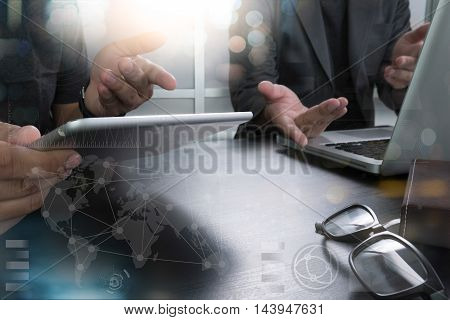 Lare Light, Double Exposure Of Business Man Hand Working On Blank Screen Laptop