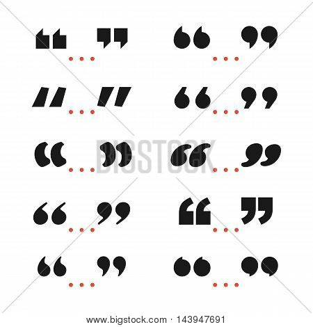 Quote marks black symbol. Vector set of quotation sign isolated on mhite background