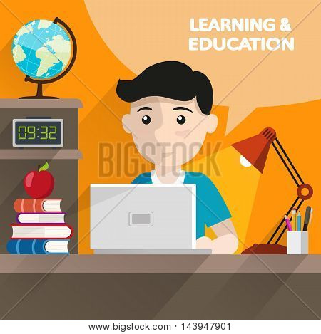 Schoolboy sitting at table and doing homework with book and computer. Education and back to school flat style illustration for web design and flyers