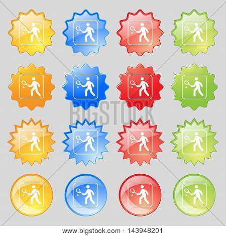Tennis Player Icon Sign. Big Set Of 16 Colorful Modern Buttons For Your Design. Vector