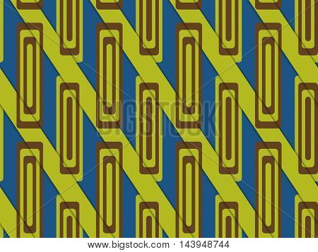 Retro 3D Blue And Green Diagonally Cut With Rectangles