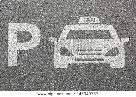 Parking Lot Sign Car Park Taxi Cab Sign Vehicle Street Road Traffic Town City Mobility