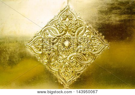 handmade golden carved flower in temple chiang mai thailand