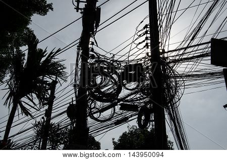 the complicate electricity cable in chiang mai thailand