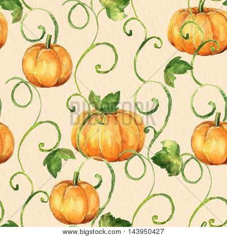 Pumpkins. Seamless  watercolor pattern. Background with old paper texture