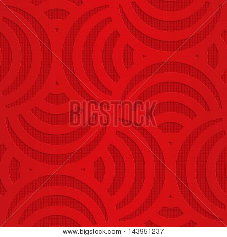 Red Turning Arcs On Checkered Background
