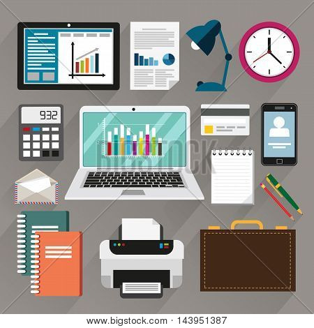Office stationery items and equipment set of flat design illustration