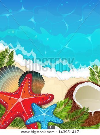 Foaming waves and sandy beach with palm branches coconut and starfishes. Sea resort background.